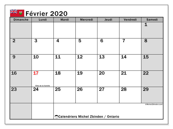 Calendrier février 2020, avec les jours fériés de l'Ontario. Calendrier Fêtes et jours fériés à imprimer gratuit.