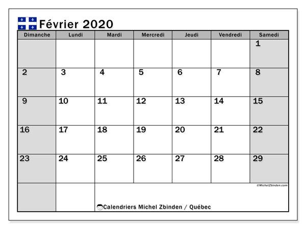 Calendrier Quebec Fevrier 2020 A Imprimer Michel Zbinden Fr