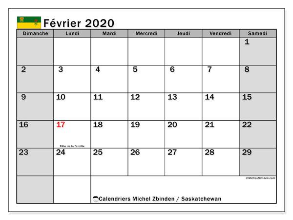 Calendrier février 2020, avec les jours fériés de la Saskatchewan. Calendrier à imprimer gratuit avec jours fériés.