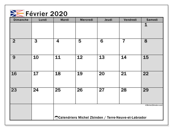 Calendrier février 2020, avec les jours fériés de Terre-Neuve-et-Labrador. Calendrier à imprimer gratuit avec jours fériés.