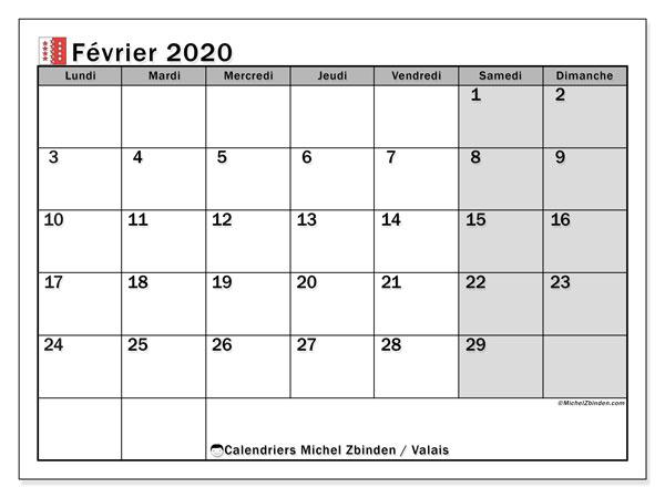 Calendrier février 2020, avec les jours fériés du Canton du Valais. Calendrier Fêtes et jours fériés à imprimer gratuit.