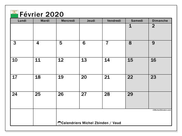Calendrier février 2020, avec les jours fériés du Canton de Vaud. Calendrier à imprimer gratuit avec jours fériés.