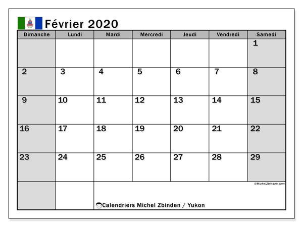 Calendrier février 2020, avec les jours fériés de le Yukon. Calendrier Fêtes et jours fériés à imprimer gratuit.