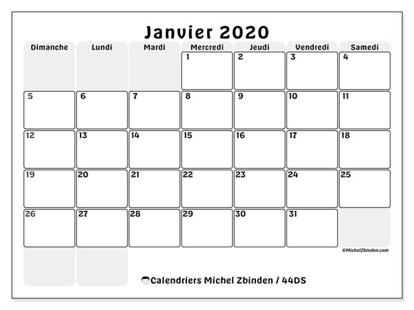 Calendrier Mensuel 2020 à Imprimer.Calendrier Janvier 2020 44ds Michel Zbinden Fr