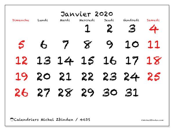 Calendrier janvier 2020, 46DS. Organisateur à imprimer gratuit.