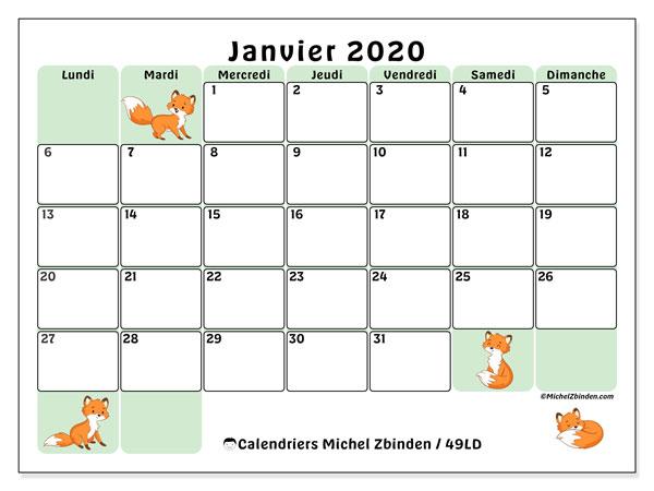 Calendrier janvier 2020, 49LD. Calendrier à imprimer gratuit.