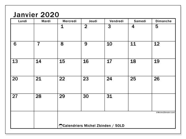 Calendriers janvier 2020, 50