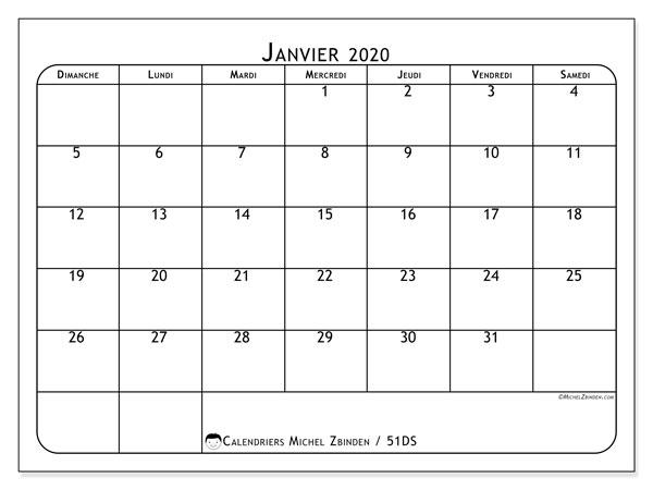 Calendrier janvier 2020, 51DS. Calendrier pour le mois à imprimer gratuit.