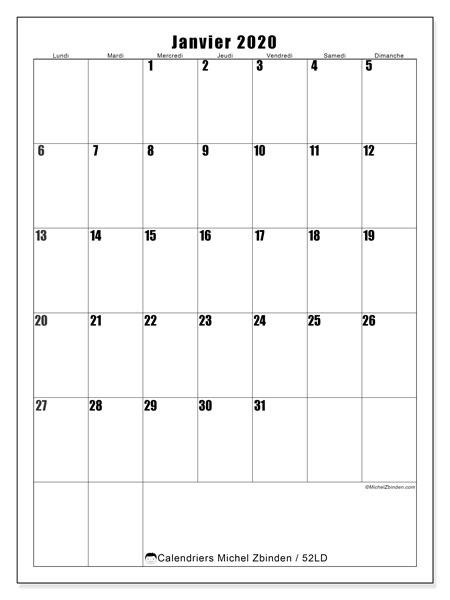 Calendrier janvier 2020, 52LD. Planificateur à imprimer gratuit.