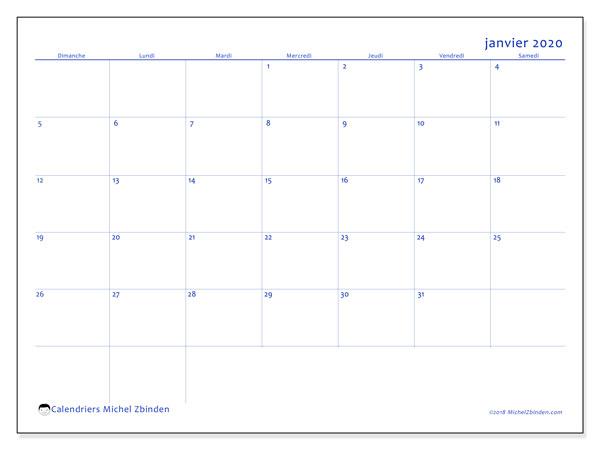 Calendrier janvier 2020, 55DS. Calendrier mensuel à imprimer gratuit.