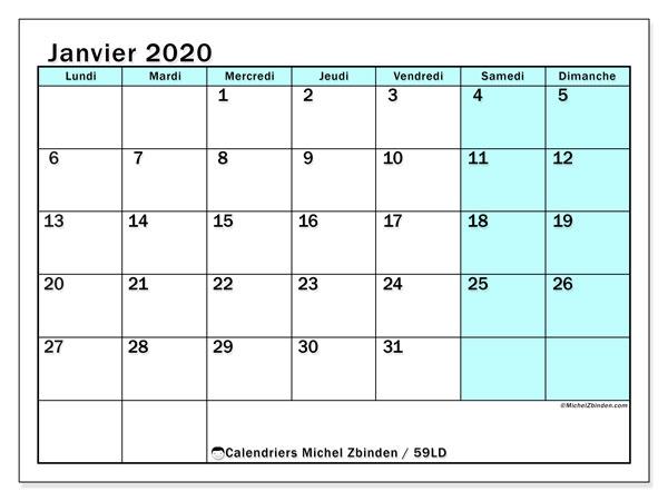 Calendrier janvier 2020, 59LD. Calendrier à imprimer gratuit.