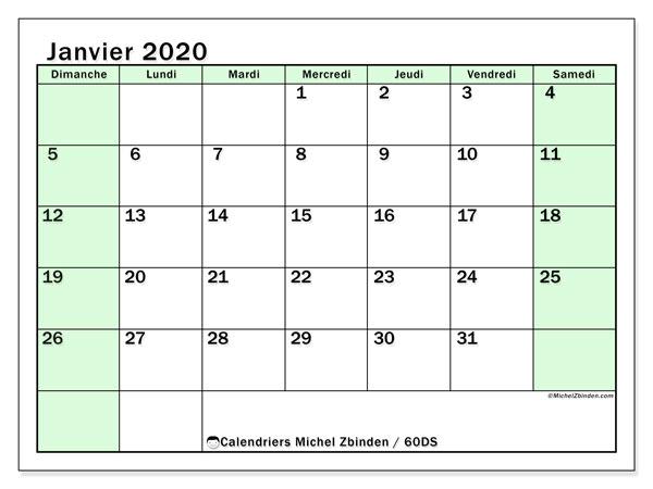 Calendrier janvier 2020, 60DS. Calendrier gratuit à imprimer.