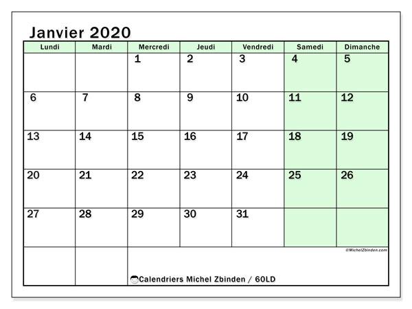 Calendrier janvier 2020, 60LD. Calendrier à imprimer gratuit.