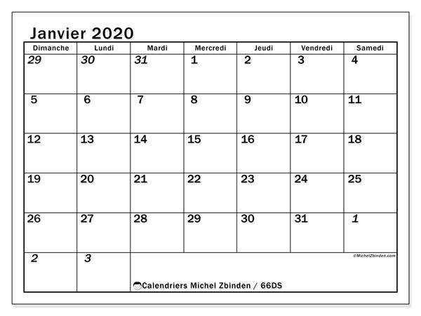 Calendrier janvier 2020, 66DS. Calendrier gratuit à imprimer.