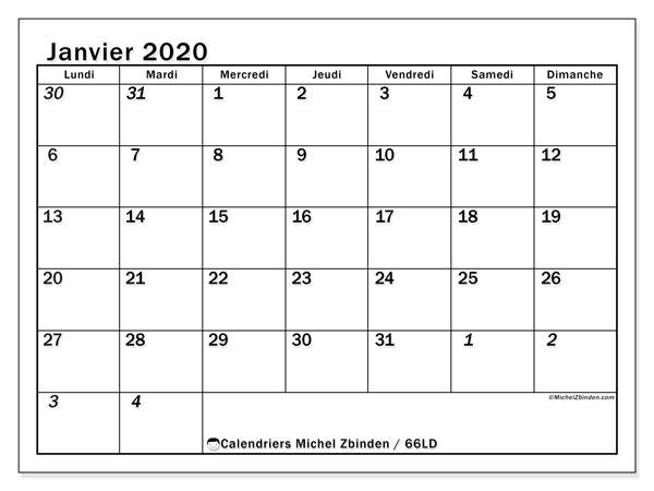Calendrier janvier 2020, 66LD. Calendrier gratuit à imprimer.