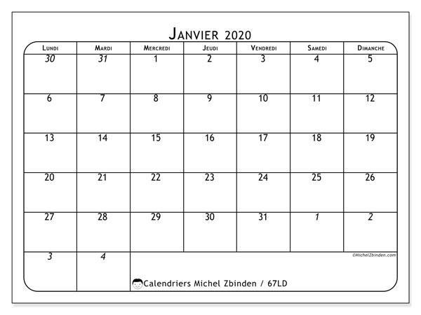 Calendrier janvier 2020, 67LD. Calendrier imprimable gratuit.