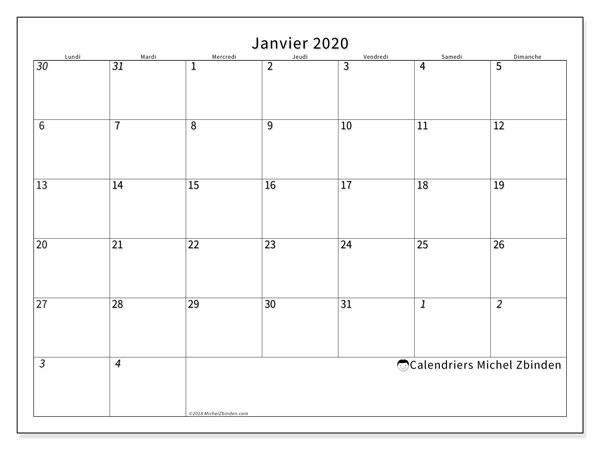Calendrier Mois Janvier 2020.Calendrier Janvier 2020 70ld Michel Zbinden Fr
