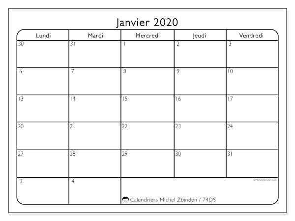 Calendrier janvier 2020, 74DS. Calendrier mensuel à imprimer gratuit.