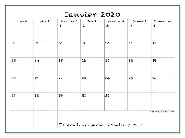 Calendriers janvier 2020, 77
