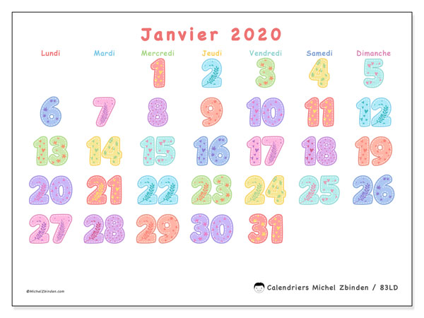 Calendriers janvier 2020, 83
