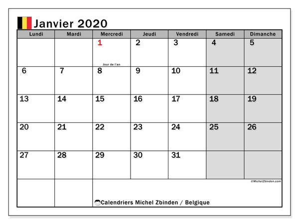 Calendrier janvier 2020, avec les jours fériés de la Belgique. Planificateur à imprimer gratuit.