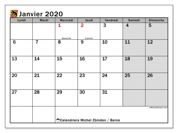 Calendrier janvier 2020, avec les jours fériés du Canton de Berne. Calendrier Fêtes et jours fériés à imprimer gratuit.