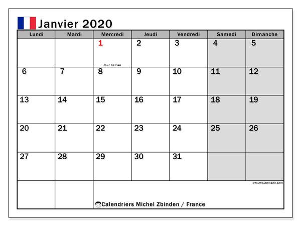 Calendrier janvier 2020, avec les jours fériés de la France. Calendrier à imprimer gratuit.