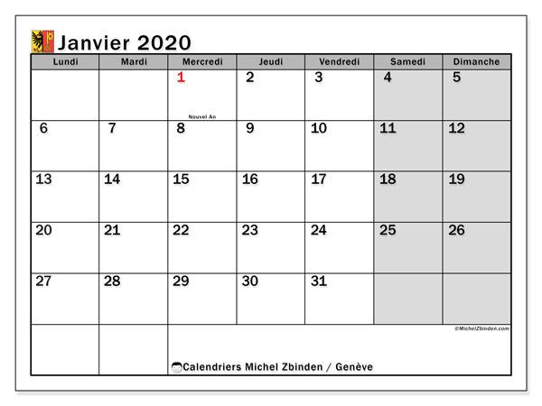 Calendrier janvier 2020, avec les jours fériés du Canton de Genève. Calendrier à imprimer gratuit avec jours fériés.