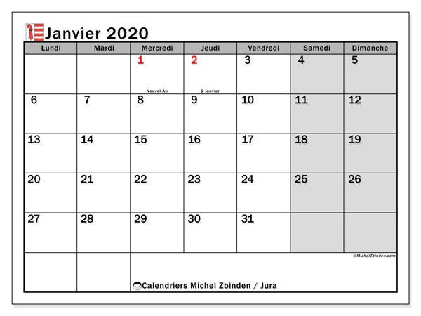 Calendrier janvier 2020, avec les jours fériés du Canton du Jura. Calendrier Fêtes et jours fériés à imprimer gratuit.