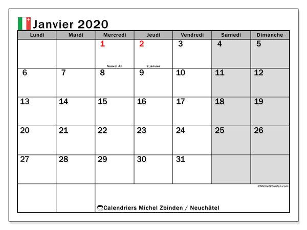 Calendrier janvier 2020, avec les jours fériés du Canton de Neuchâtel. Calendrier Fêtes et jours fériés à imprimer gratuit.