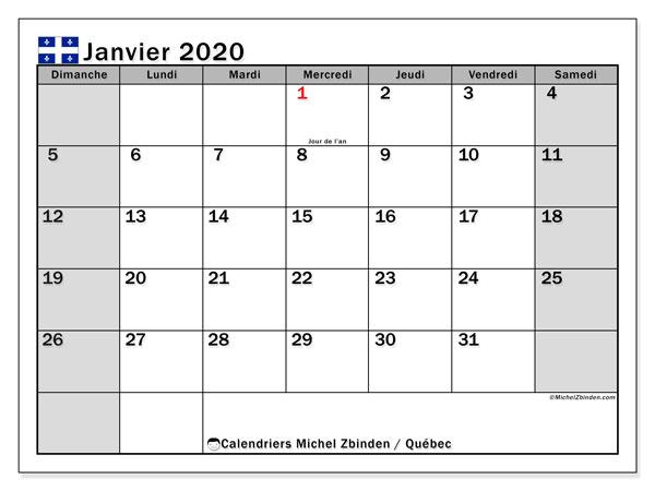 Calendrier Mois Janvier 2020.Calendrier Janvier 2020 Quebec Canada Michel Zbinden Fr