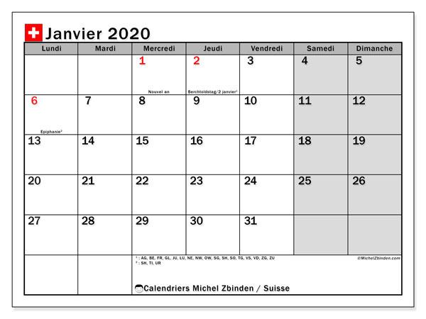 Calendrier janvier 2020, avec les jours fériés de la Suisse. Calendrier à imprimer gratuit avec jours fériés.