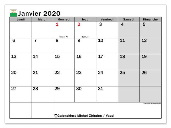 Calendrier janvier 2020, avec les jours fériés du Canton de Vaud. Calendrier à imprimer gratuit avec jours fériés.