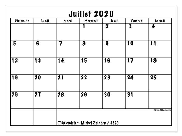 Calendrier juillet 2020, 48DS. Planificateur à imprimer gratuit.