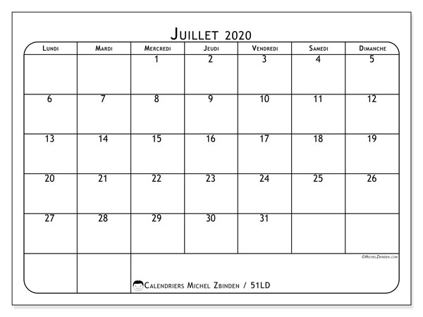 Calendrier juillet 2020, 51LD. Calendrier pour le mois à imprimer gratuit.