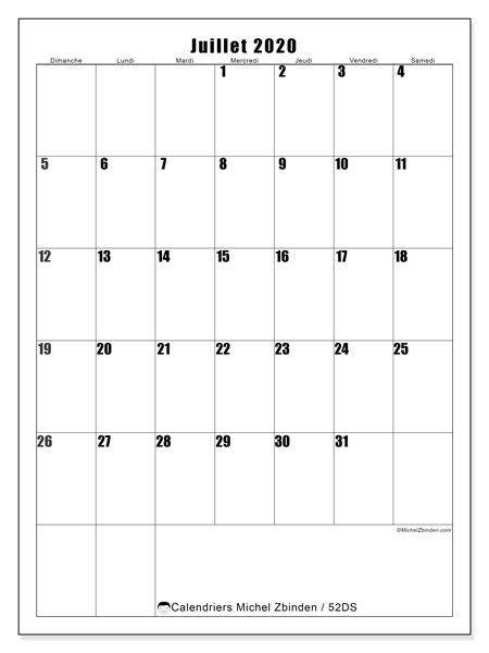 Calendrier juillet 2020, 52DS. Planificateur à imprimer gratuit.