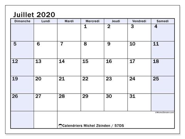 Calendrier juillet 2020, 57DS. Calendrier à imprimer gratuit.