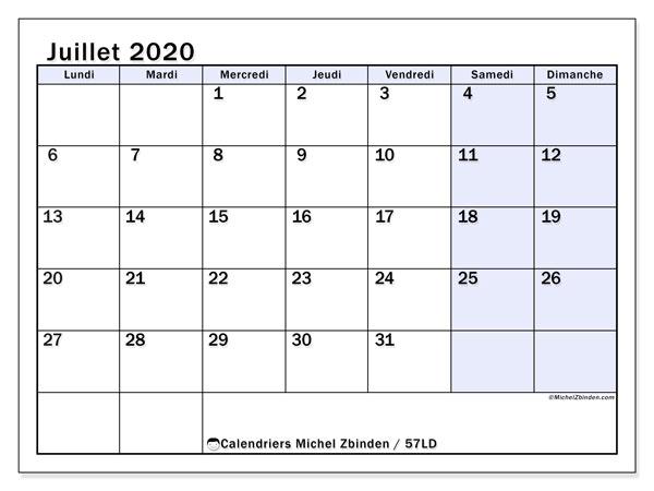 Calendrier juillet 2020, 57LD. Calendrier à imprimer gratuit.