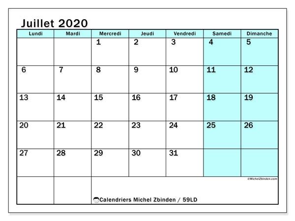 Calendrier juillet 2020, 59LD. Calendrier pour le mois à imprimer gratuit.