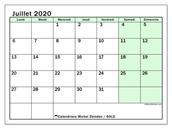 Calendrier juillet 2020, 60LD. Planificateur à imprimer gratuit.