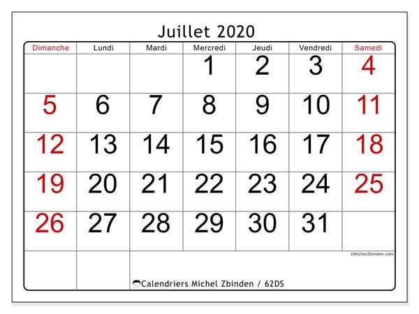 Calendrier juillet 2020, 62DS. Calendrier pour le mois à imprimer gratuit.