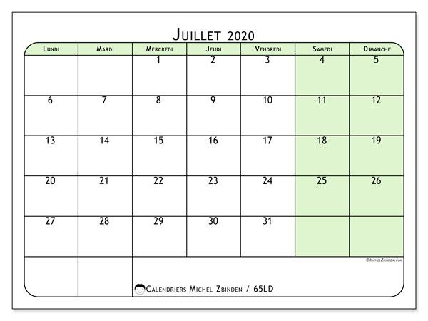Calendrier juillet 2020, 65LD. Organisateur à imprimer gratuit.