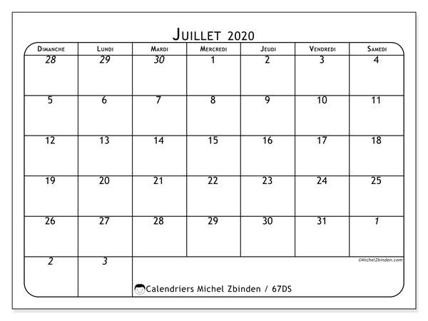 Calendrier juillet 2020, 67DS. Calendrier mensuel à imprimer gratuit.