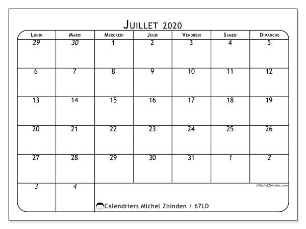 Calendrier juillet 2020, 67LD. Calendrier gratuit à imprimer.