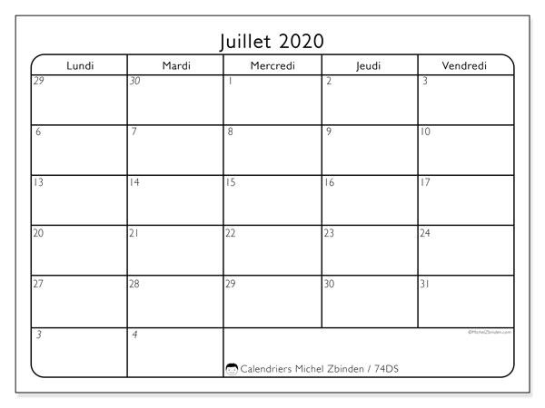Calendrier juillet 2020, 74DS. Organisateur à imprimer gratuit.