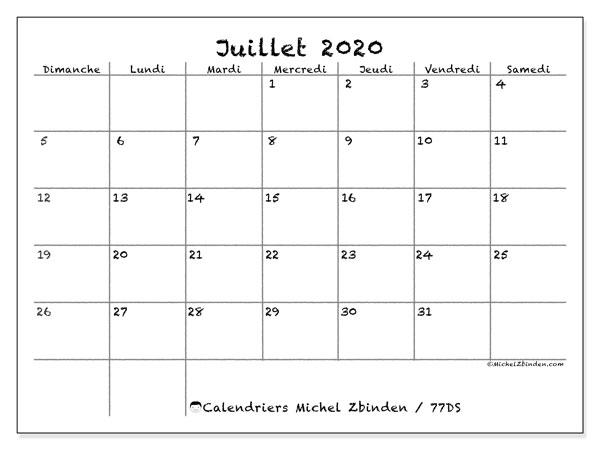 Calendrier juillet 2020, 77DS. Calendrier gratuit à imprimer.