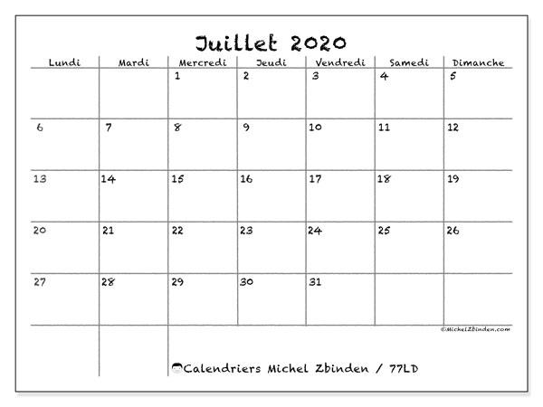 Calendrier juillet 2020, 77LD. Calendrier pour le mois à imprimer gratuit.