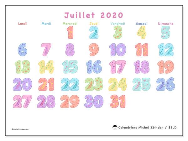 Calendrier juillet 2020, 83LD. Calendrier mensuel à imprimer gratuit.