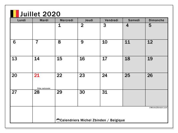 Calendrier juillet 2020, avec les jours fériés de la Belgique. Calendrier pour le mois à imprimer gratuit.