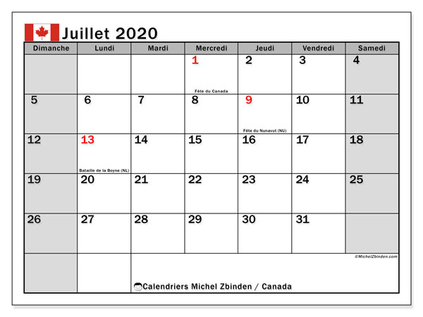 Calendriers juillet 2020. Édition Canada.